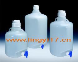 美国耐洁Nalgene可高温高压灭菌放水口细口大瓶,PP材质20L,圆形半透明2319-0050